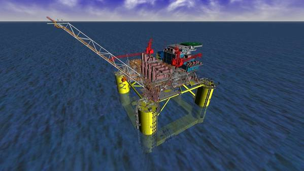 Artist's render of the Gulf of Mexico FPU to be delivered by Sembcorp Marine to Shell - Image source: Sembcorp Marine