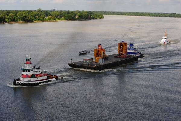 The blowout preventer from Deepwater Horizon is transported in September 2010 (U.S. Coast Guard photo by Stephen Lehmann)