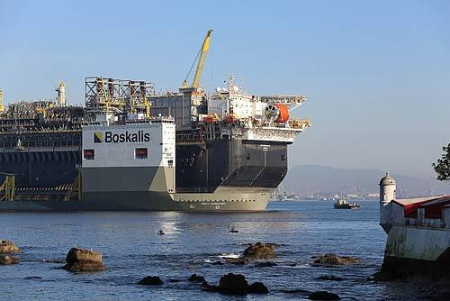 Boskalis heavy transportation vessel carrying an FPSO - Image Credit; Boskalis