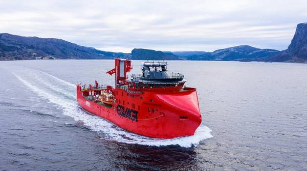 Caption: 'ESVAGT Schelde' doing a test run on the Sognefjord. Photo: UavPic/via Havyard