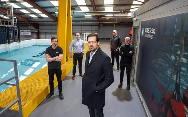 Clockwise: Front – Leonardo Machado (MD); Stuart Morrice (Learning Operations Manager, UK); Stephen Ferguson (Senior Sales Manager, Oil & Gas, UK); Steve Bonner (Safety and Survival Instructor) and Callum Dewar (Operations Manager, UK).