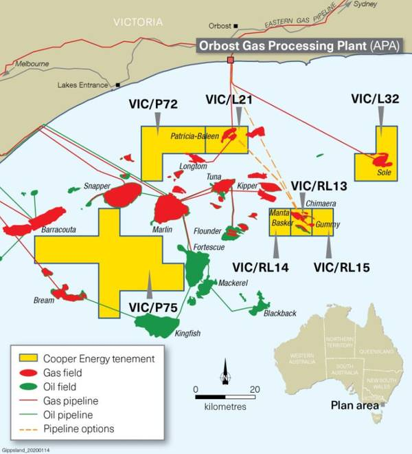 Cooper Energy's assets in the Gippsland Basin - Image by Cooper Energy