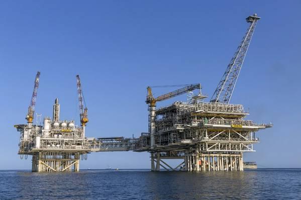 Shah Deniz Bravo platforms in the Caspian Sea in Azerbaijan operated by BP. (Photo: BP)