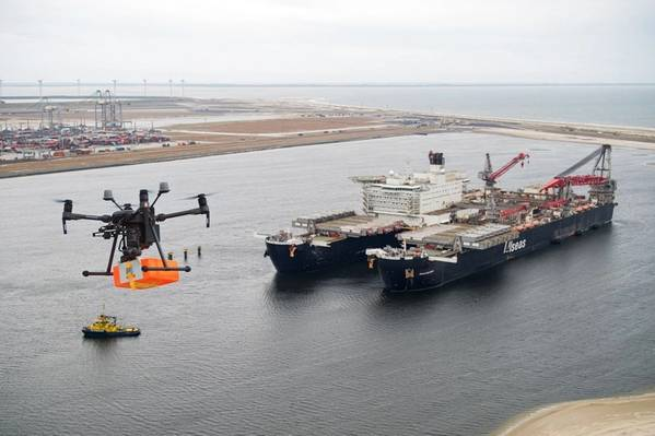 Drone delivering a package to the Pioneering Spirit vessel - Credit: Port of Rotterdam,