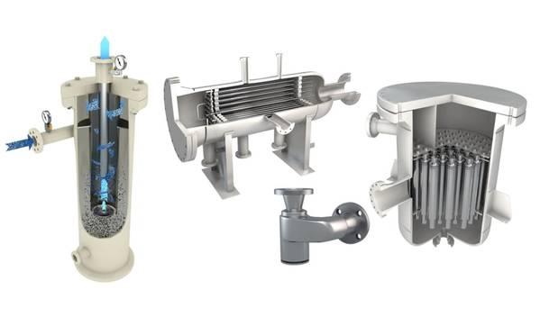 Exterran's Separon product portfolio (from left to right) Desander, Deoiling Hydrocyclone, Solids Transport System, and Desanding Hydrocyclone (Image: Exterran)