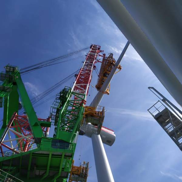 The first turbine was installed by DEME in June - Credit: DEME