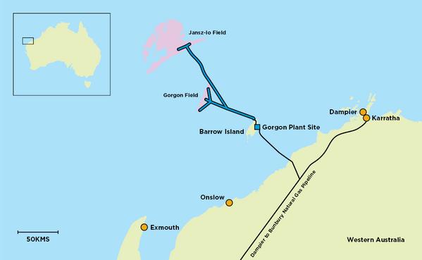 Gorgon field map - Image Credit: Chevron