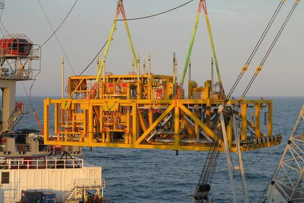 The Gullfaks Compression System station installation, which comprises piping and valves, as well as the two multiphase compressors and process coolers. All images from OneSubsea