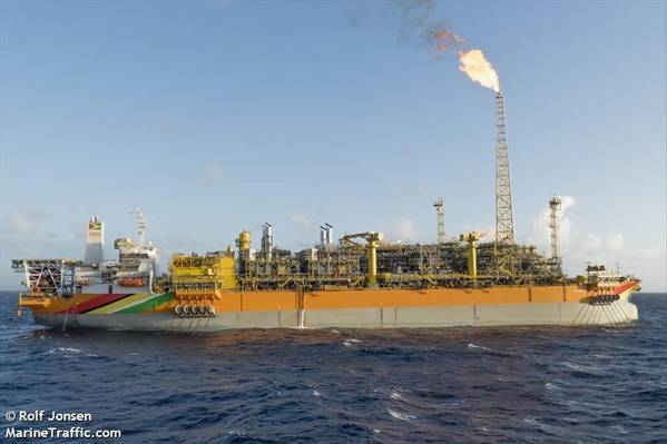 Guyna's only offshore facility producting oil, the Liza Destiny FPSO - Credit:Rolf Jonsen/MarineTraffic.com