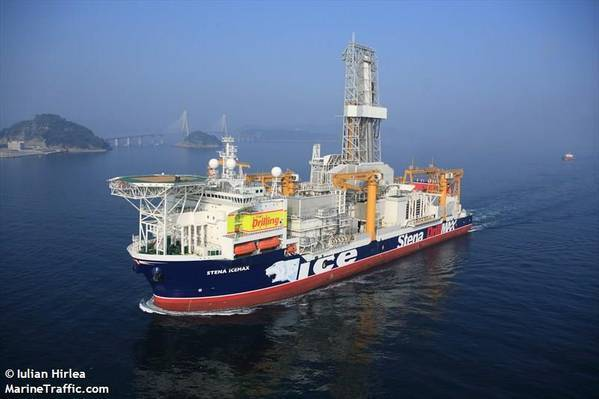 Halliburton last week secured an integrated services contract to execute a three to five well drilling and completions campaign for the Mediterannean Sea-focused oil and gas firm Energean. Stena Drilling's Stena Icemax drillship will be used for the drilling campaign off Israel. Image Credit: Iulian Hirlea/MarineTraffic.com