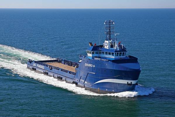 Harvey Energy is the first PSV in the Americas to be retrofitted for hybrid propulsion. (Photo: Harvey Gulf)