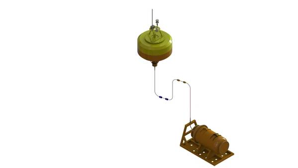 OPT's hybrid PowerBuoy with seafloor battery (Image: OPT)