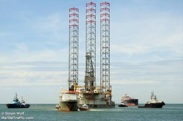 Illustration - A Borr Drilling rig - Credit: Simon Wolf/MarineTraffic.com