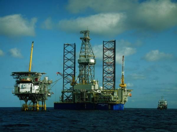 Illustration; A drilling rig next to Vaalco's platform - Credit: Vaalco