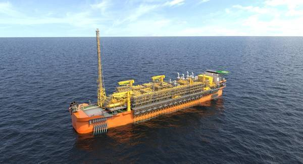 An illustration of a Fast4Ward FPSO. The image doesn't reflect the final look of the FPSO Alexandre de Gusmão.  (© SBM Offshore)