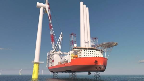 Illustration of SBO's new OWF installation vessel