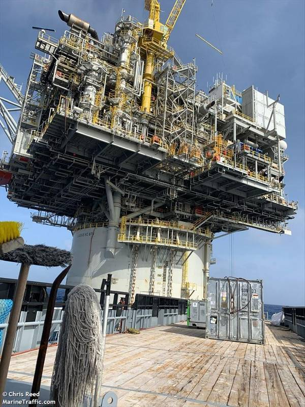 Illustration: Lucius spar platform, one of Oxy's Gulf of Mexico platforms - Credit: Chris Reed/MarineTraffic.com