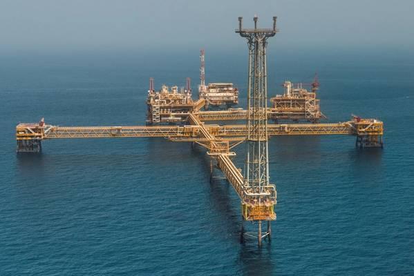 Illustration - An offshore platform in Qatar - Credit: Qatargas