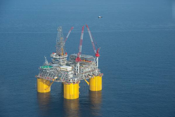 Illustration - Shell's Mars B Olympus platform in the Gulf of Mexico. (This is not the platform that was damaged). Copyright Mike Duhon Productions / Shell file photo