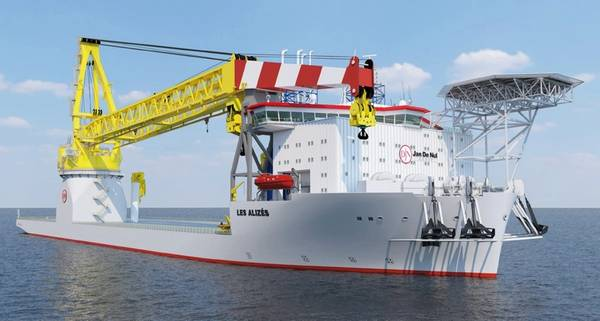 Wind, oil and gas: an impression of Jan de Nul's offshore capable new-build crane vessel, Les Alizes (Image: Jan de Nul)