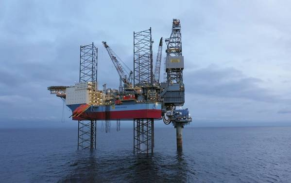 Jack-up drilling and production facility Mærsk Inspirer and a wellhead module at the Yme field site in the North Sea, offshore Norway - Image Credit: Repsol via NPD (file photo)