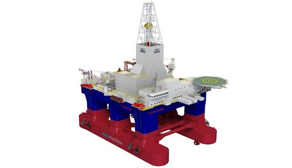Kongsberg Maritime says its systems will be used to optimize operations on the second newbuild Awilco Drilling Owned Moss CS60Eco semi-submersible drilling rig being built by Singapore's Keppel Offshore & Marine. (Image: Kongsberg Maritime)