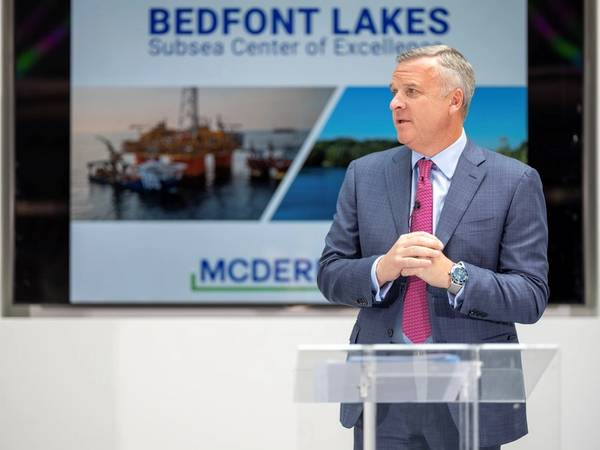 McDermott President and CEO David Dickson speaks on the impact the Bedfont Lakes relocation will have for company and its clients. (Photo: McDermott)