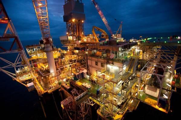 A night view of BP's Shah Deniz Platform located in the Caspian sea, off the coast of Azerbaijan / Credit: BP