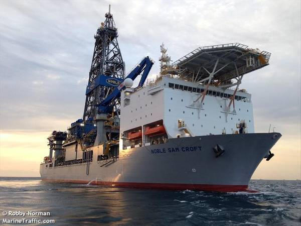 Noble Sam Croft drillship used by Apache offshore Suriname - Credit: Robby Norman / MarineTraffic