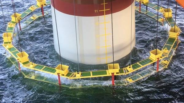 AdBm Noise Mitigation System reduces underwater noise resulting from offshore pile driving wind turbine foundations. Image: Van Oord