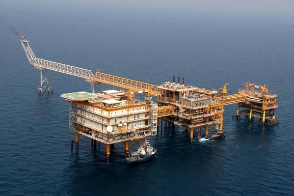 An offshore platform complex in Iran - Credit: NIOC