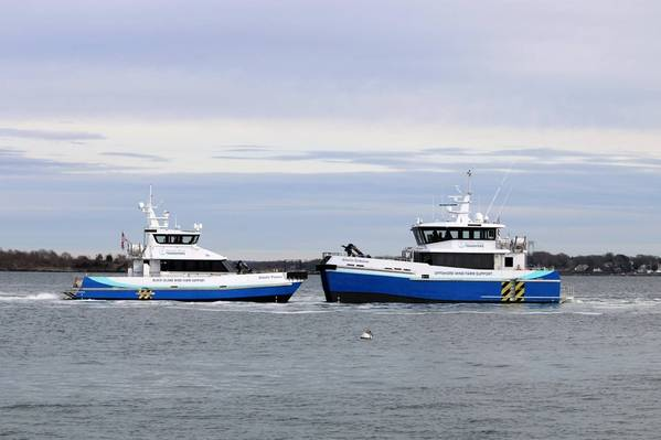 The offshore wind farm support vessels of Atlantic Wind Transfers, Atlantic Pioneer and Atlantic Endeavor, pictured together. (Photo: AWT)