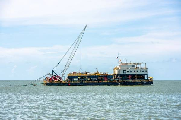 orrison's CM-15 pipeline lay barge performing pipeline installation operations - Credit: Morisson