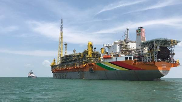The Liza Phase 1 development project utilizes the Liza Destiny floating, production, storage and offloading (FPSO) vessel moored approximately 120 miles offshore Guyana, with four undersea drill centers supporting 17 wells. (Photo: Hess Corp)