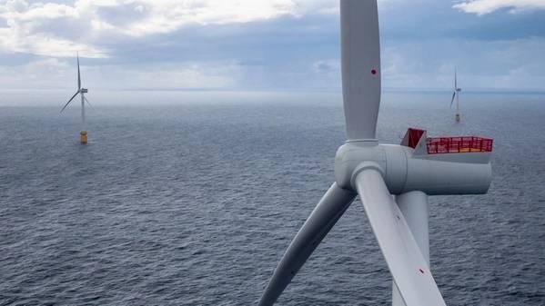 Photo from the floating wind farm Hywind Scotland. (Photo: Øyvind Gravås/Woldcam - Equinor ASA)