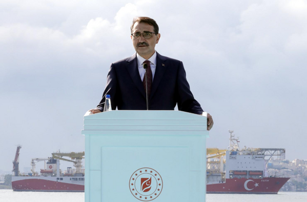 File photo: Turkey's Energy Minister Fatih Donmez announced in May that the drillship Faith (in background) would begin drilling Tuna-1 in Black Sea from mid-July. (Photo: Republic of Turkey Ministry of Energy and Natural Resources)