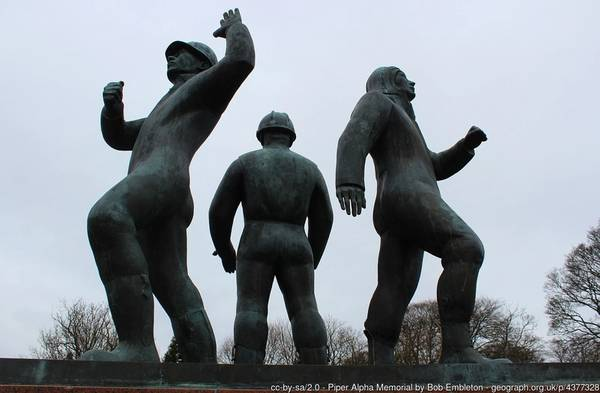 Piper Alpha Memorial  - Commemorating the 167 men killed on the 6th July 1988 on the oil platform. Designed and sculptured by Sue Jane Taylor and unveiled by Her Majesty Queen Elizabeth the Queen Mother on the 6th July 1991. Image by: Bob Embleton/Geograph.org.uk