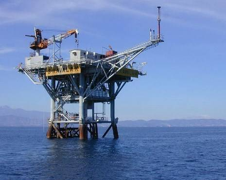 A platform at the South Kavala Gas field - Credit: Energean