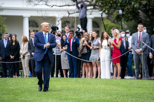 President Donald J. Trump walks across the South Lawn of the White House Thursday, Sept. 24, 2020, to board Marine One en route to Joint Base Andrews, Md. to begin his trip to North Carolina and Florida. (Official White House Photo by Tia Dufour)