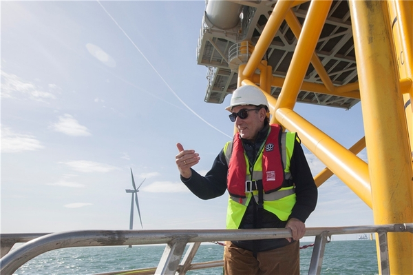 The president of Iberdrola, Ignacio Galán, during his visit to an offshore wind farm - Credit: Iberdrola