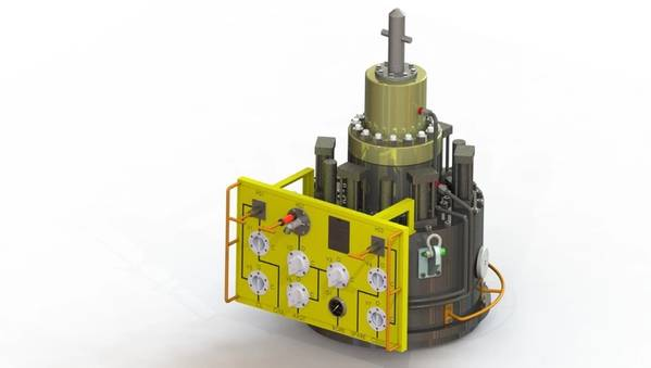 Replacement wellhead cap with ROV control panel - Credit: MMA