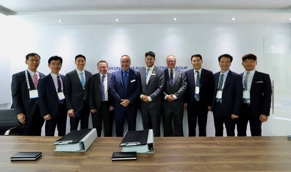 Representatives from Steelhead LNG, Huu-ay-aht First Nations, Hyundai Heavy Industries and the B.C. Provincial government at Gastech 2018 in Barcelona, Spain.  (Photo: Steelhead LNG)