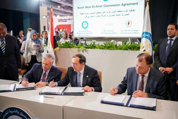 Left to Right: Neptune Energy CEO Jim House, Minister of Petroleum and Mineral Resources, His Excellency Eng. Tarek El Molla, CEO of EGPC, Abed Ezz El Regal - Image source: Neptune Energy