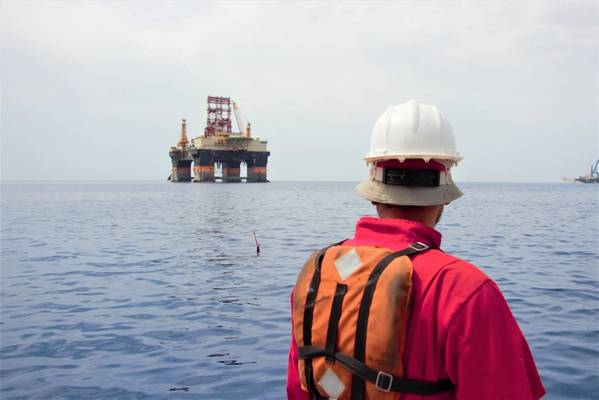 Seaglider with rig in the background - Credit Cyprus Subsea