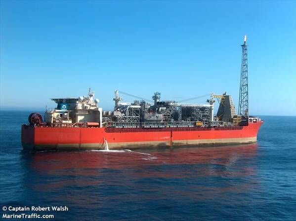 SeaRose floating production, storage and offloading (FPSO) vessel used by Husky to produce oil from its offshore oil fields in the Atlantic Ocean, off Canada. Image credit: Captain Robert Walsh/MarineTraffic.com