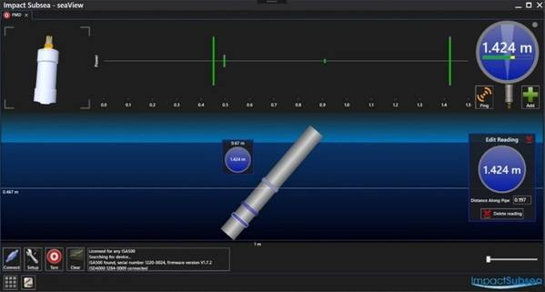SeaView software showing the Subsea probe's orientation relative to the underwater member, echoes received with energy levels and correlation value, liquid level reading (if liquid is present), etc. providing a quality check for each reading obtained. (Image: VideoRay)