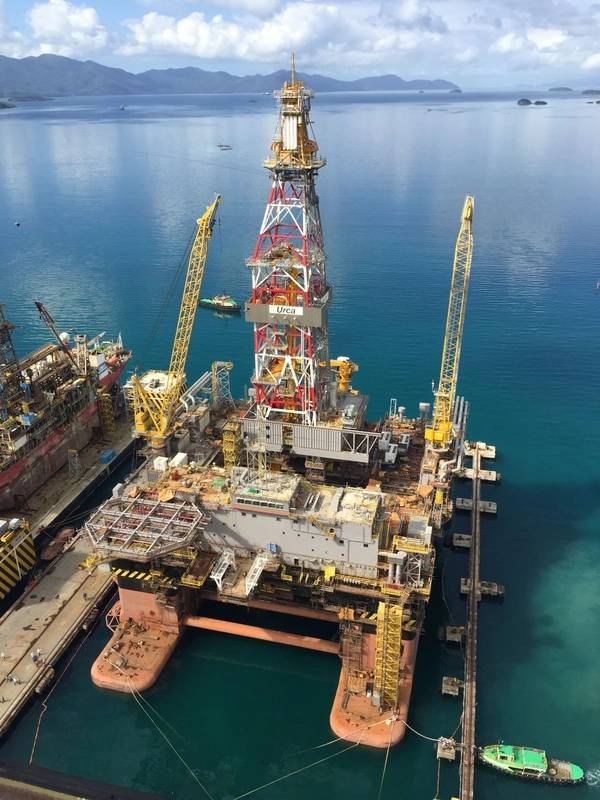 When the Settlement Agreement is completed, Keppel O&M will have full ownership over the four uncompleted rigs to explore various options to extract the best value from the assets.  Keppel O&M is also in discussions with Magni Partners on the terms to complete the construction of the drilling rigs Urca (pictured) and Frade, which are about 92% and 70% completed respectively. (Photo: Keppel)