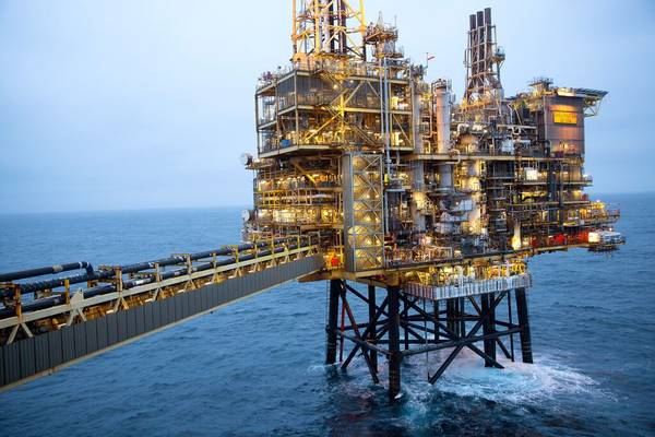 Shearwater Platform with walkway leading to wellhead jacket. Off the coast of Aberdeen, Scotland / Credit: Photographic Services, Shell International Limited.