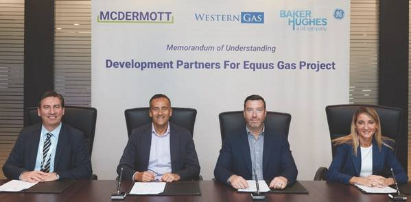 Signing the MOU were (from left) Ian Prescott, Senior Vice President for Asia Pacific, McDermott; Andrew Leibovitch, Executive Director, Western Gas; Will Barker, Executive Director, Western Gas; and Maria Sferruzza, President Asia Pacific, Baker Hughes, a GE Company (Photo: Western Gas)