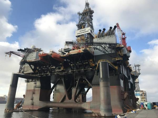 The sixth generation harsh environment drilling rig Ocean GreatWhite is the world's largest semi-submersible offshore drilling rig (Photo: KPL)